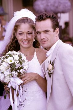 Rebecca Gayheart as Toni and Luke Perry as Dylan on Beverly Hills 90210.