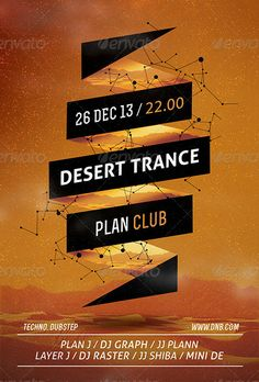 Desert Trance Minimal Flyer and Poster Template - http://www.ffflyer.com/desert-trance-minimal-flyer-and-poster-template/ Desert Trance Minimal Flyer and Poster Template - This flyer was designed to promote an Electro / Dubstep / Dance / Drum and Bass / Techno / House music event, such as a gig, concert, festival, dj set, party or weekly event in a music club and other kind of special evenings. This flyer can also be used for a new album promotion or other advertising purpos