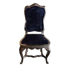 French Boudoir Chair in Navy Crushed Velvet in Flamingo Parks