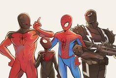 Scarlet Spider, Ultimate Spider-Man, Spider-Man & Agent Venom. Daaw! Miles is so cute!