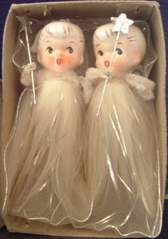 two vintage Christmas fairies