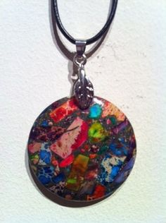 Beautiful New Rainbow Sea Sediment Jasper Necklace with 24 Cord One of A Kind
