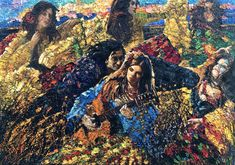 """""""Gypsy Wedding"""" - 54x78, Artist: Vladimir Mukhin,Oil on canvas. The most powerful work in this series is a large scaled canvas with many figures """"Gypsy wedding"""" conveying all the power, passion, musicality and eroticism of unrestrained dance orgy."""