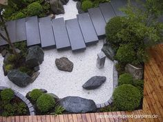 Japanese garden Nice small tsubo-niwa.  Also, VERY intersting arrangement of the 3 rocks in the center.  More equivalently spaced than normal, and unless you're supposed to look at it from the bottom L, also an unusual structure - 3 rocks with 1 tall & narrow, 1 low, long and large, and one low, round and small is standard, but having the round small one furthest back, and the tall one so far to the right instead of sort-of-but-not-actually centered between others are both unusual choices.