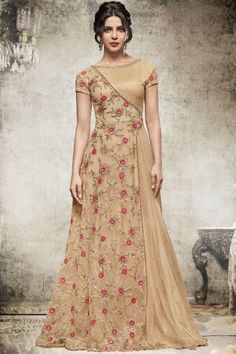 Priyanka Chopra Indian Designer Emroidered Anarkali Style Bollywood Indian Gown