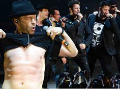 Donnie Wahlberg shows off abs during New Kids On The Block performance