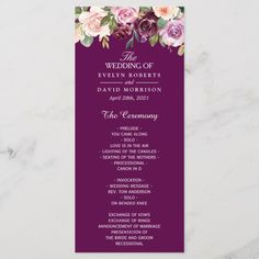 Shop Plum Lilac Purple Blush Floral Chic Wedding Program created by CardHunter. Wedding Messages, Wedding Menu Cards, Wedding Programs, Purple Wedding, Chic Wedding, Floral Wedding, Wedding Stuff, Wedding Ideas, Purple Blush