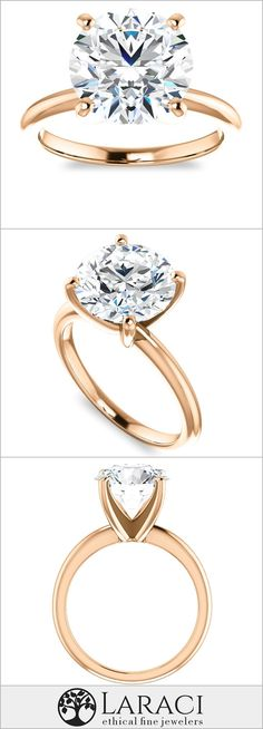 18K Rose Gold Solitaire Engagement Ring set with a 3.6ct (10mm) Round Forever One Near Colorless Moissanite