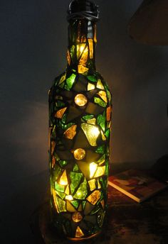 Mosaic Bottle Light I made!!! Free shipping on my Etsy this month at www.etsy.com/shop/jennaleeartsee