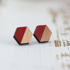 Cranberry & Cherry Wood Hexagon Handpainted Post Earrings - Titanium…