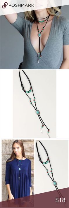 """Suede String Choker Necklace SUEDE STRING CHOKER ADJUSTABLE THREE LAYERED """"Y"""" SHAPED NECKLACE WITH STONE BEADS AND METALLIC FEATHER DROP EMBELLISHMENT. Threads & Trends Jewelry Necklaces"""