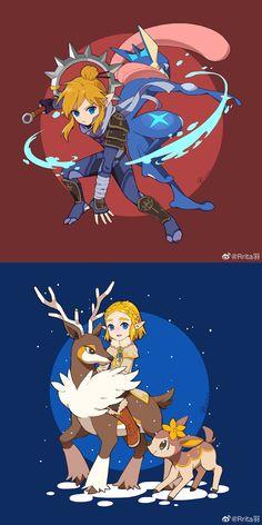 Pokemon Crossover, Fandom Crossover, Legend Of Zelda Memes, Legend Of Zelda Breath, Videogames, Evil Demons, Nintendo Characters, Pokemon Fan Art, Breath Of The Wild