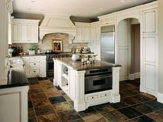 classic white kitchen cabinets Antique White Kitchen Cabinets...floor