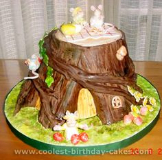 """Really cool birthday cake...can see this done with a """"Pooh"""" theme."""