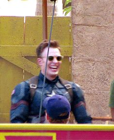 Loooook at his helmet hair and glasses! Chris Evans on the set of Captain America: Civil War (GIFs).