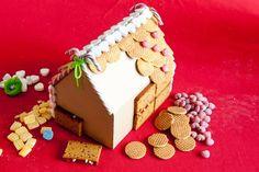 zelf peperkoekenhuisje maken - als het eetbaar moet zijn, plakken met glazuur of icing op aluminiumfolie