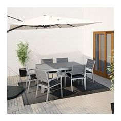 IKEA - FALSTER, Table+6 armchairs, outdoor, Falster gray/Ekerön black, , Polystyrene slats are weather-resistant and easy to care for.The furniture is both sturdy and lightweight as the frame is made of rustproof aluminum.