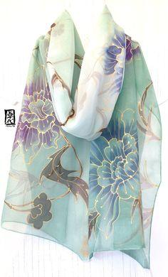 Hand Painted Silk Scarf Green Large Silk Scarf Women Chiffon Fabric Unique Gift Green Kimono Vine Design Takuyo Made to order Chiffon Scarf, Chiffon Fabric, Silk Chiffon, Kimono Design, Scarf Design, Green Kimono, Painted Silk, Hand Painted, Black Silk