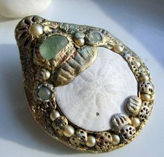 Sand Dollar Seaglass and Pearl Brooch Pin by jetsamdesigns on Etsy, $33.00