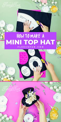 Learn how to make a mini top hat with this free pattern and tutorial. I love that there is a sew and no sew option. The free template makes this costume idea easy to make at home. Barrette Clip, Old Jewelry, Easy Diy Crafts, New Years Eve Party, New Pins, Free Pattern, I Am Awesome, Cricut, Costume