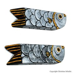 Fish Decor Silver and Gold Pair Handmade Folk Art Reclaimed Wood Mississippi