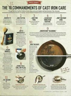 Cast Iron care tips. 11 easy to use tips for taking care of your cast iron pan. Dutch Oven Cooking, Cast Iron Cooking, Cooking Tips, Cleaning Cast Iron Pans, Cooking Videos, Cooking Classes, Cooking Food, Cooking Lamb, Cooking Pasta