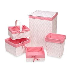 Redmon 5-Piece Hamper Set with Pink Liners in White