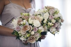 julia, antique & tineke roses, snowberry, fressias, dusty miller & spray rose