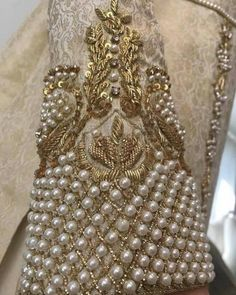Ideas Embroidery Blouse Designs Pearl For 2019 Zardosi Embroidery, Pearl Embroidery, Bead Embroidery Patterns, Couture Embroidery, Embroidery Suits, Embroidery Fashion, Hand Embroidery Designs, Beaded Embroidery, Wedding Embroidery