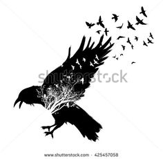 5b442b27605 Isolated flying down Raven double exposure. Trees and birds silhouettes on  background