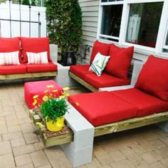 Red Sofa Chairs And Flower Pots Are Very Decorate Your Home Patio DIY Patio Furniture Protective Covers Patio patterns designs with grass repair construction details against foundation edging and pergola Outdoor Sofa, Diy Outdoor Furniture, Deck Furniture, Outdoor Seating, Outdoor Spaces, Outdoor Living, Outdoor Decor, Furniture Projects, Furniture Design