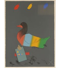 "Raymond Jennings Saunders American; (1934- ) Duck out of Water. Lithograph with silkscreen and collage. A Guggenheim Fellow in 1976, Saunders work is included in the permanent collections of The Whitney Museum of American Art, The Metropolitan Museum of Art, The Walker Art Center and the San Francisco Museum of Modern Art. Number 28 from an edition of 200. Signed on left edge. This particular piece is also in the permanent collection of the Museum of Modern Art, NY.  30 1/2"" x 23 1/2""."