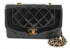 excellent (EX) Chanel Black Quilted Patent Leather Medium Classic Coco Flap Bag on shopstyle.com