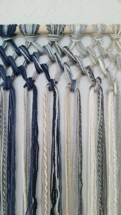 Tapestry Macrame Yarn Tapestry Yarn Wall Hanging Wall Tapestry Blue Beige White and Gray Wall Decor Macrame Art, Macrame Projects, Macrame Knots, Yarn Projects, Art Macramé, Yarn Wall Hanging, Wall Hangings, Ideias Diy, Macrame Tutorial