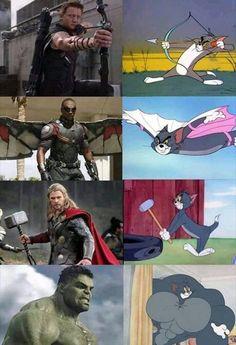 Realm of Marvel Funny Marvel Memes, Marvel Jokes, Avengers Memes, Marvel Heroes, Funny Comics, Marvel Avengers, Funny Jokes, Funny Minion, Hilarious