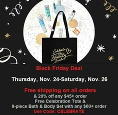 #BlackFriday Deal Alert! Use #couponcode CELEBRATE and get free shipping on all orders & 20% off any $45+ order more at www.youravon.com/atodd. Spend $60 get a #FREE celebration tote & 8-piece bath & body set. Expires midnight 11/26/16.  #Avon #freewithpurchase #skincare #makeup #mascara #wideawake #lipliner #glimmersticks #truecolor #eyeshadow #eyeliner #beyondcolor #lipstick #beYOUtiful #fashion #bathandbody #beauty #costmetics #style #beautyproducts #sale #freeshipping