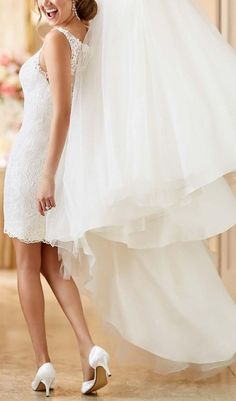 Beauty Bridal Two In One Detachable Train Lace Wedding Dresses 2016 // More at http://www.cutedresses.co/product/two-in-one-detachable-train-lace-wedding-dresses/