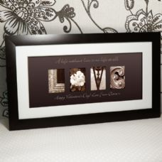 Personalised Engagement Gift.  The word LOVE is made using architectural images, which is then personalised with your message added.  A truly unique gift. Shop Now - http://www.omgmygift.co.uk/love-word-art-framed-picture-33328-p.asp