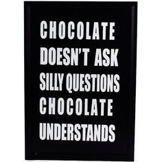 Stor tavla med citat CHOCOLATE