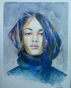 Just grey.... Acuarela 23x32,5cms Basik 370g Alexandra Sánchez Moreno (2017) #portrait #retrato #art #watercolorpainting #woman