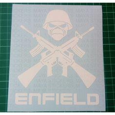 crossed guns iron maiden skull sticker for royal enfield