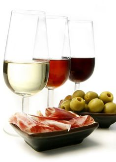 Spanish tapas … wine,Iberian ham and olives .   -->Elsie RC.