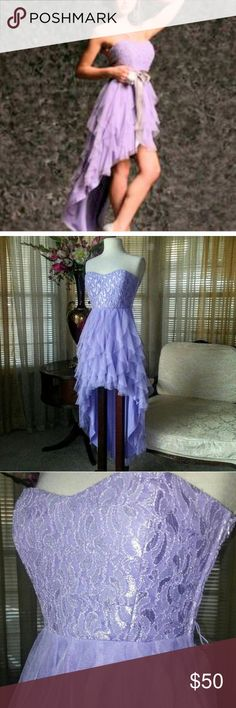 Teeze me layered light purple dress In excellent condition. No signs of wear. The belt is missing but you can easily replace it. It also looks without it. Tag size say 7 and it fits a medium. No need to wear a bra.                           b Teeze Me Dresses High Low