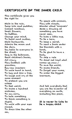 Healing the Inner Child Worksheets - Yahoo Search Results Yahoo Image Search… Art Therapy Activities, Self Care Activities, Inner Child Healing, Soul Healing, Emotional Healing, Trauma Therapy, Between Two Worlds, Kids Poems, Think