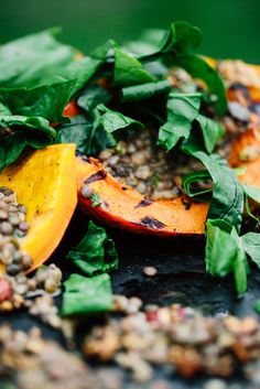 Grilled Pumpkin Salad with Lentil Curry and Spiced Nuts (walnuts, hazelnuts, pumpkin seeds)