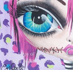 Big Eye Mixed Media Zombie Art Giclee Print Signed Zombie Punk by Lizzy Love [IMG#134]