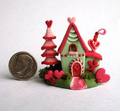 Handmade Miniature - VALENTINE WHIMSY FAIRY COTTAGE HOUSE - by C. Rohal #CRohal