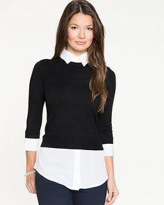 Knit & Woven Fooler Sweater & Shirt