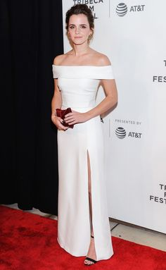 Emma Watson in a white off-the-shoulder Burberry dress