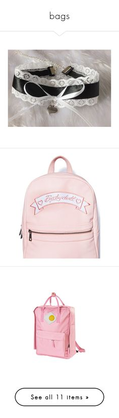 """""""bags"""" by s-adkids ❤ liked on Polyvore featuring babygirl, collars, necklaces, bags, backpacks, accessories, faux leather backpack, mini backpack, pink mini backpack and faux leather tote bag"""